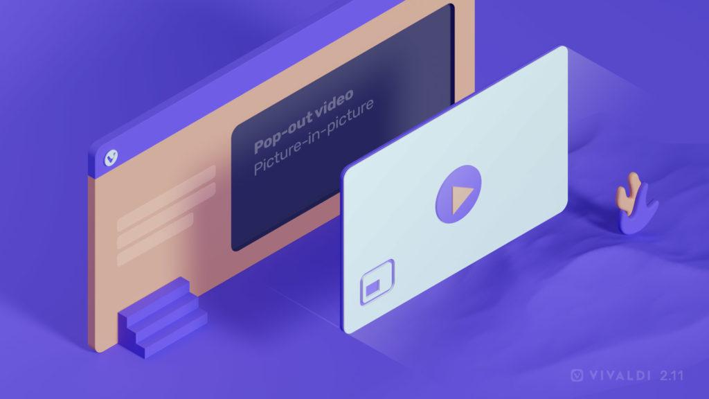 Ilustración que muestra cómo Vivaldi 2.11 mejora el video Pop-out